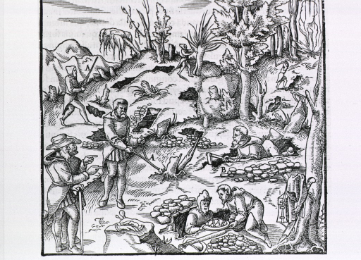 <p>Exterior scene showing men using divining rods to locate minerals which several men with digging tools are mining.</p>