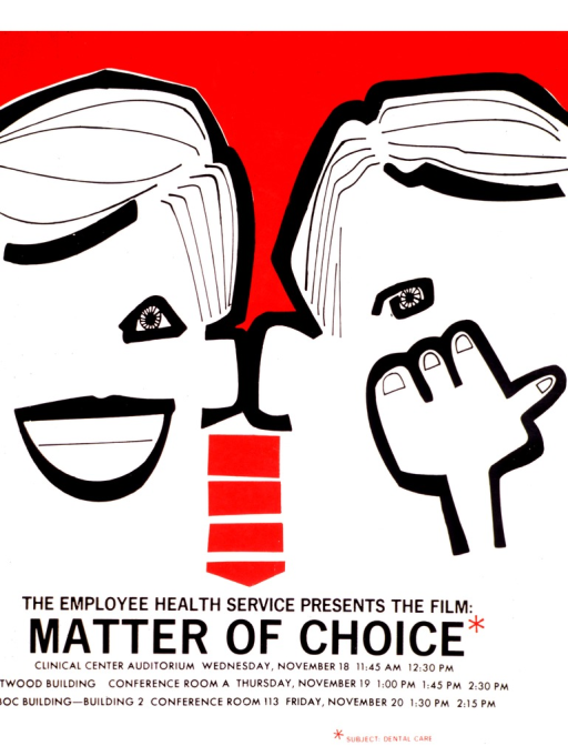 <p>A white poster with black writing shows the outline of the faces of two people, separated by a red background.  The person on the right is smiling and the person on the left has his hand over his mouth.  A red asterisk appears at the end of the title and is explained at the bottom of the poster by the picture caption.</p>