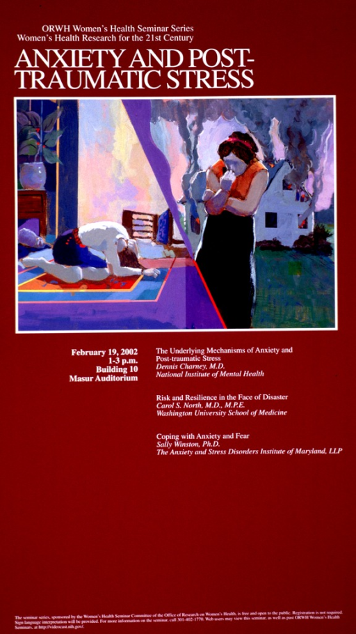 <p>Deep red poster with white print. The visual appears to be a painting with the right half showing a woman turning her back to a burning house and the left half showing a woman kneeling on a carpet doing relaxation exercises. The facial features are only suggested as are all of the other details of the scene.  Title above visual and details of the event below the visual.</p>