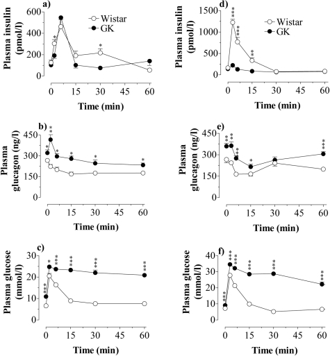 In vivo action of GLP-1 and glucose.Effect of an iv injection of GLP-1 (10 nmol/kg)+glucose (4.4 mmol/kg)(a–c) or glucose alone (11.1 mmol/kg)(d–f) on the plasma concentrations of insulin, glucagon and glucose in Wistar and GK rats. Values are mean±s.e.m for 8 animals in each group. *P<0.05; ** P<0.01; *** P<0.001.
