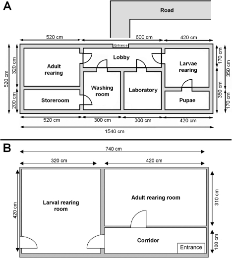 Floor plans of the biodegradation facilities.(A) Miloslavov pilot plant, (B) Alpuente facility.
