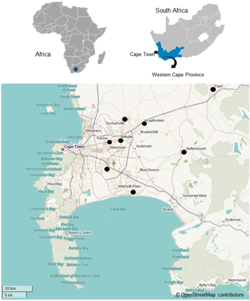 Map of the Western Cape region of South Africa with th Openi