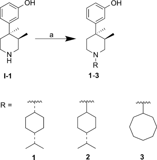 Synthesisof 1–3Reagentsand conditions: (a)for 1 and 2: 4-isopropylcyclohexanone, HOAc,NaBH(OAc)3, DCE, rt, 24 h, 20–50%; for 3: (i) cyclooctanone, Ti(OiPr)4, THF, 40 °C, 21 h;(ii) NaBH(OAc)3, 40 °C, 1 h, 71%.