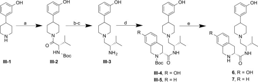 Synthesis of 6 and 7Reagents and conditions:(a)Boc-l-valine, BOP, Et3N, THF, rt, 2 h, 97%; (b)TFA, CH2Cl2, rt, 1 h, 91%; (c) BH3·SMe2, THF(ah), reflux, 4 h, 71%; (d) II-1 (for III-4) or II-2 (for III-5), BOP, Et3N, THF, rt, 3–4 h, 67–93%; (e) TFA, CH2Cl2, rt, 1.5–2 h, 56–57%.