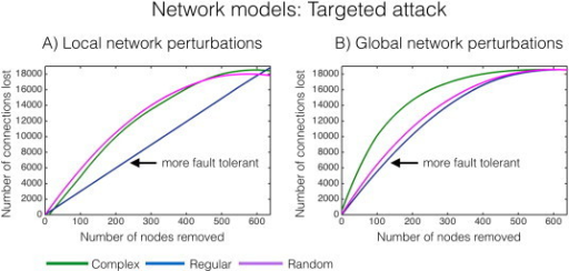 Targeted attack of networks. Network nodes of highest LE (A)and GE (B)were removed iteratively for the complex, regular and random network models in Fig.2, and the subsequent number of surviving connections was counted. A high number of lost connections indicate that the network is fault intolerant, i.e.,the curve in the above graph above is 'left shifted', or more in the upper left quadrant. The graphs towards the lower right quadrant are more fault tolerant. A)The regular network is robust to local network perturbations (arrow), whereas in B)both regular and random networks are robust to global network perturbations (arrow).