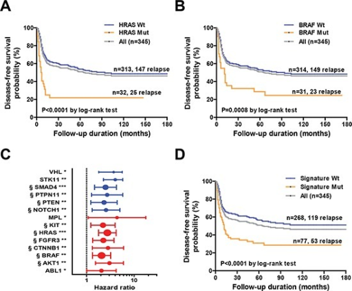 A. Kaplan-Meier analysis of disease-free survival in the entire cohort (n = 345) based on HRAS mutation statusB. Kaplan-Meier analysis of disease-free survival in the entire cohort (n = 345) based on BRAF mutation status. C. Univariate hazard ratios and 95% confidence intervals for disease relapse according to specific genetic alterations in individual genes. The strength of statistical significance identified in Cox proportional hazard models is reported in brackets (***P < 0.001, **P < 0.01, *P < 0.05). § denotes genes selected in the genetic signature. D. Kaplan-Meier analysis of disease-free survival of the entire cohort (n = 345) according to the genetic signature mutation status.
