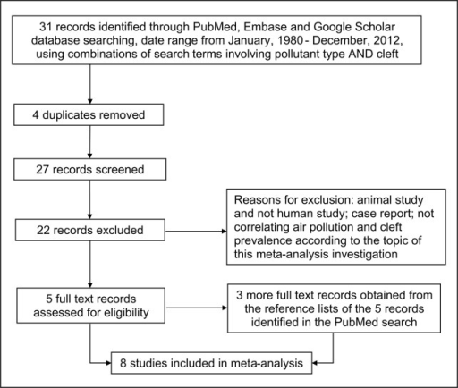 Flow diagram of the search result and study selection.