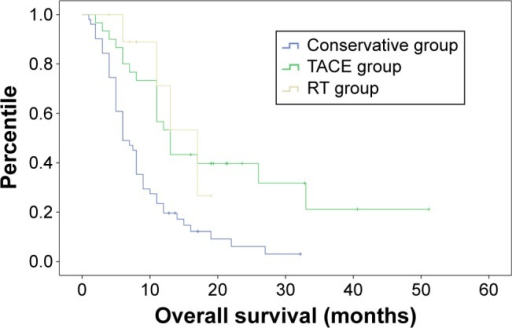 Kaplan–Meier curve of overall survival in three groups.Abbreviations: RT, radiotherapy; TACE, transarterial embolization.