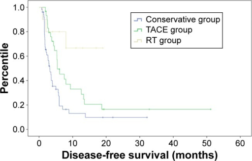 Kaplan–Meier curve of disease-free survival in three groups.Abbreviations: RT, radiotherapy; TACE, transarterial embolization.