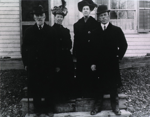 <p>Left to right:  William Howell Evans (father), Annie B. Evans (mother), Alice, and her brother Morgan W. Evans.  All shown standing, full length, full face.</p>