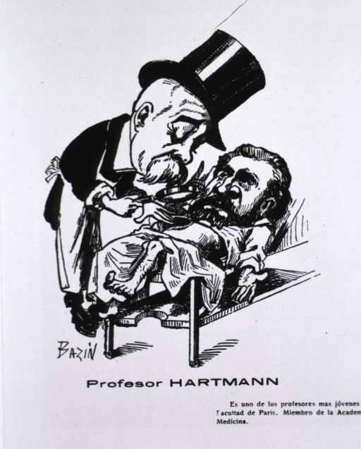 <p>Caricature from La Tribuna Medica, Chile.  Wearing top hat, bent over patient, examining with a magnifying glass.</p>