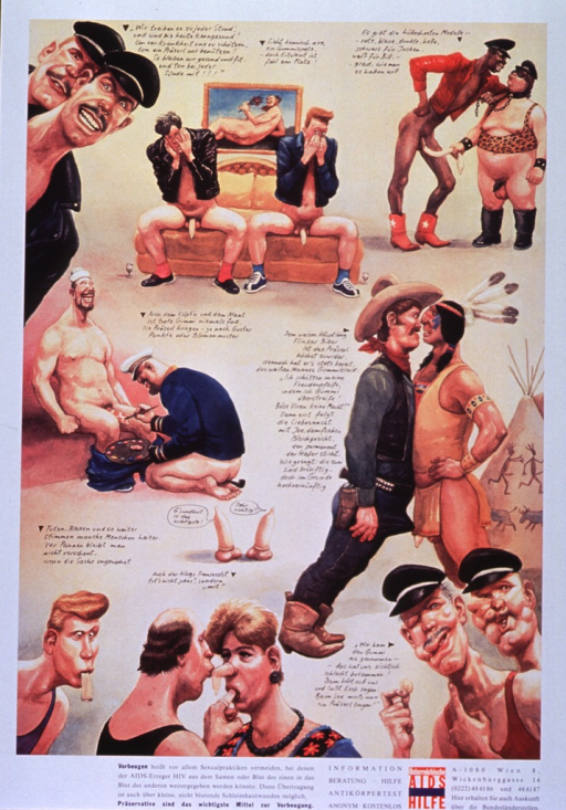 <p>Predominantly yellow poster with multicolor lettering.  Poster dominated by a series of nine illustrations and short poems.  Most illustrations feature gay male couples, often in playful poses and in varying states of nudity.  The poems address the importance of using condoms to maintain health.  Note and additional text about AIDS transmission below illustrations.  Title and publisher information in lower right corner.</p>
