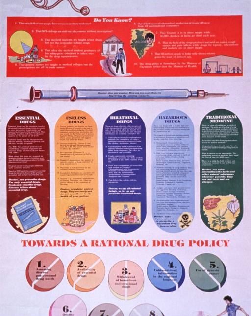 <p>Multicolor poster.  Title at top of poster.  Visual images are illustrations, including a stethoscope, pills, a syringe, a report, a skull and crossbones, and a soccer player.  Text describes the relationship between the drug industry and medical profession.  It notes shortages of essential drugs and the overproduction and overuse of &quot;irrational&quot; and &quot;hazardous&quot; drugs.  Eight steps for reform appear near bottom of poster.  Publisher information at bottom of poster.</p>