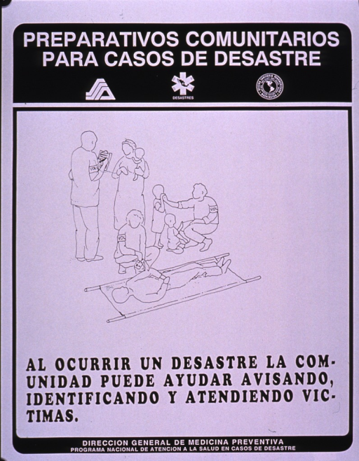 <p>Black and white poster.  Series information at top of poster.  Visual image is a line drawing of volunteers tending to people, including a man on a stretcher, some children, and mother holding a baby.  Title below drawing.  Publisher information at bottom of poster.</p>