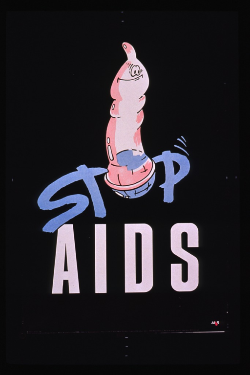 <p>Predominantly black poster with blue and white lettering.  Title dominates poster.  Visual image is an illustration of a cartoon-style condom, part of which forms the &quot;o&quot; in &quot;stop.&quot;  Publisher information at bottom of poster.</p>
