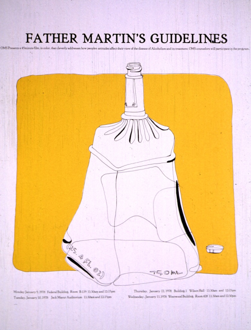 <p>The poster shows a large outlined drawing of a bottle of alcohol against a dark yellow-orange background.  The dates, times, and locations for viewing the film are also given.</p>