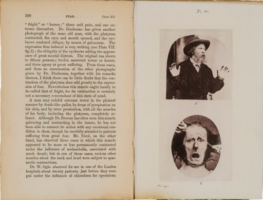 <p>Image of facing pages (p. 300-301) from The expression of the emotions in man and animals / by Charles Darwin. London : John Murray, 1872. Page 300 is text. Page 301 has two illustrations of men with expressions of fear or horror.</p>