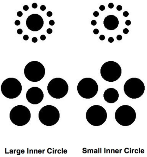 Hypothetical stimuli that could be used in an experiment that would involve having observers discriminate between the sizes of the inner circles rather than detecting their presence (see text for details).