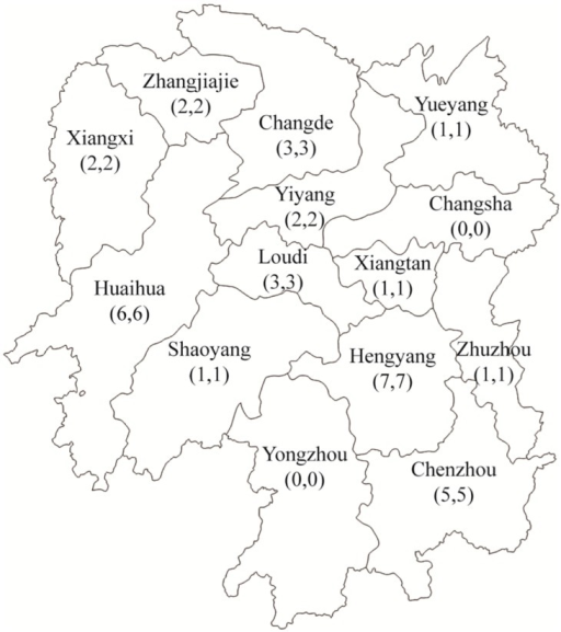 The distribution of study participants from ministries and health and public security in 12 counties of Hunan Province.