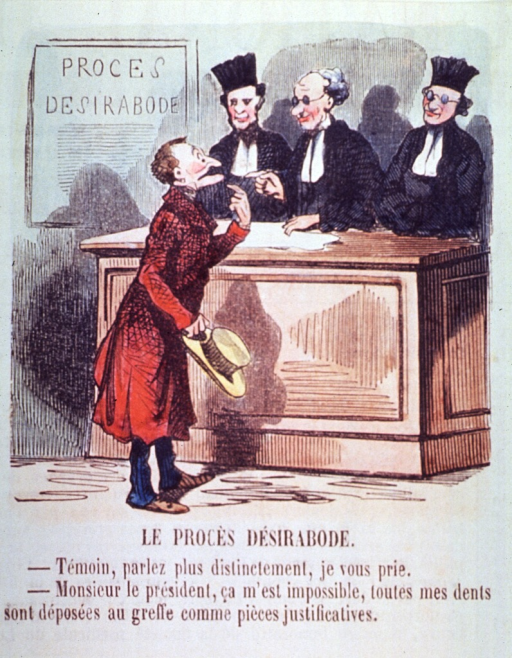 <p>A man appearing before a court is unable to make himself understood without his false teeth.</p>