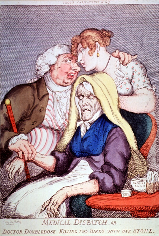 <p>Physician takes the pulse of an old woman while caressing her daughter.  A jar marked &quot;Opium&quot; and a bottle marked &quot;Composing draught&quot; rest on a side table.</p>