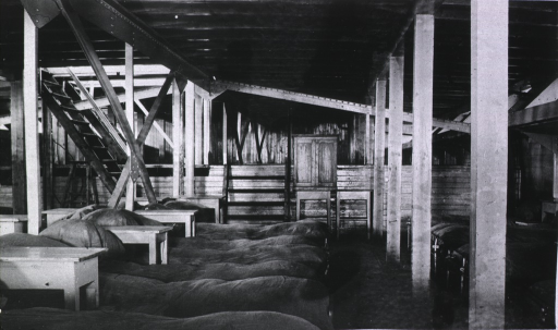 <p>The men's ward aboard a floating hospital.</p>