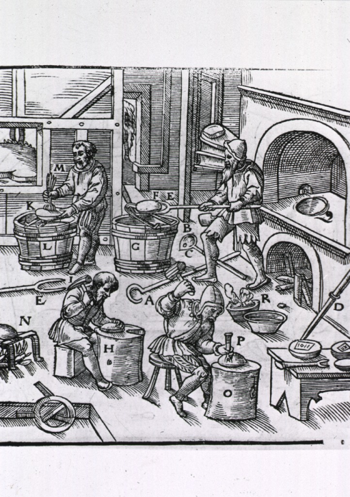 <p>Interior view of a workshop showing four men at various stages of the metallurgical process.</p>