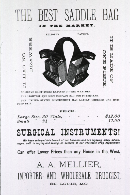 <p>Advertisement for medical saddle bag sold by A.A. Mellier, St. Louis, Mo.</p>