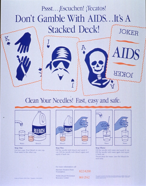 <p>White poster with blue and orange lettering.  Title at top of poster.  Dominant visual image is an illustration of four playing cards, with a needle, pirate, and skull replacing the king, jack, and ace.  The joker reads &quot;AIDS.&quot;  Caption below cards.  Five small illustrations below caption depict the cleaning process, which is also described in three steps.  Publisher and sponsor information in lower right corner.</p>