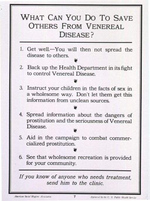 <p>Photoprint of poster: text offering six ways to prevent others from contracting venereal disease.</p>