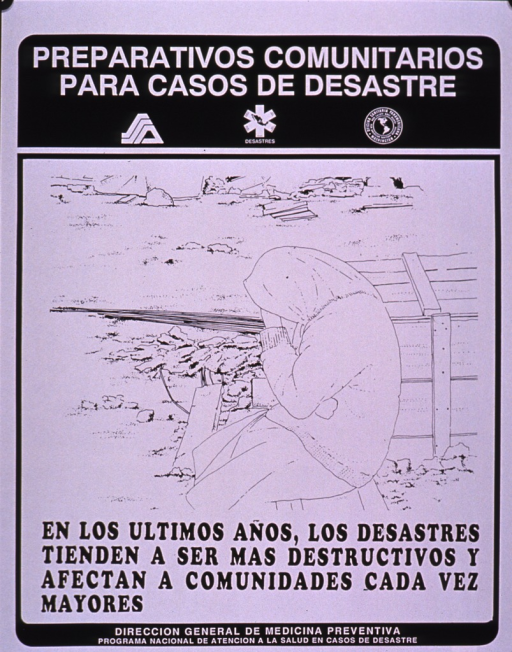 <p>Black and white poster.  Series information at top of poster.  VIsual image is a line drawing of a seated woman; she is slumped over somewhat and rests her head on her hand.  She is surrounded by rubble.  Title below drawing appears to deal with increasing destruction from disasters and communities being more severely affected.  Publisher information at bottom of poster.</p>