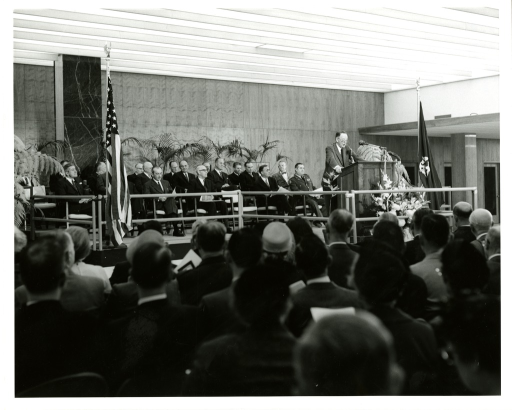<p>Dr. Worth Bagley Daniels addresses the audience gathered in honor of the National Library of Medicine Dedication Ceremony.</p>