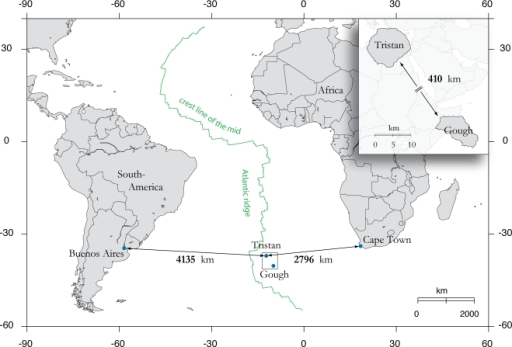 Map showing the location of Tristan da Cunha and Gough in the Mid Atlantic.