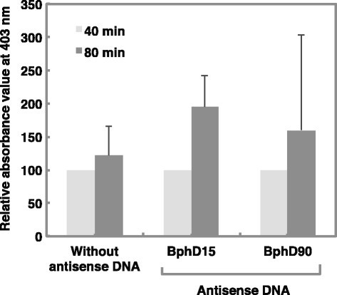 Gene silencing effects of BphD15 and 90 antisense oligonucleotide DNA on hydrolase activity inPseudomonas pseudoalcaligenesKF707. Values indicate the means ± standard deviation of three independent experiments.