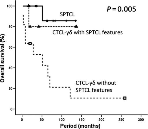 Overall survival of primary cutaneus T-cell lymphoma of the γδ phenotype (CTCL-γδ) without subcutaneous panniculitis-like T-cell lymphoma (SPTCL) features, CTCL-γδ with SPTCL features and SPTCL. A statistically significant difference was observed in overall survival among the SPTCL, CTCL-γδ with SPTCL features and CTCL-γδ without SPTCL features groups (P = 0.005).