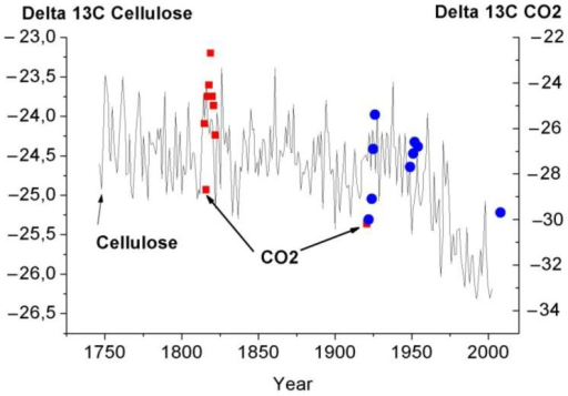 Comparison of variations in the carbon isotope composition of CO2 desorbed from the tree ring wood of the 300 year old larch with variation in Delta 13C of cellulose (Figure 4 from [11]. Figure 4 [11] was digitized before use).