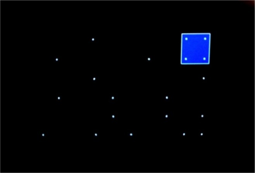 White signals (dots) on a black background and critical stimulus constellation in the Signal Test