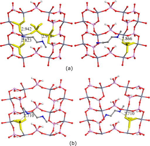 The repeat units and near non-framework species, as well as the highlighted core units of layered zinc phosphates with a close contact of 3.0 Å.The repeat units were placed in very similar orientations. The structure-directing agents were (a) 3-methylaminopropylamine (Left: above layer; Right: below layer) and (b) N,N'-dimethylethylenediamine (Left: above layer; Right: below layer). Phosphorus, zinc, oxygen, nitrogen, hydrogen, and carbon atoms are labeled with pink, dark cyan, red, blue, white, and grey colors, respectively.