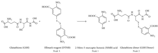 Reaction of Ellman's reagent with glutathione.