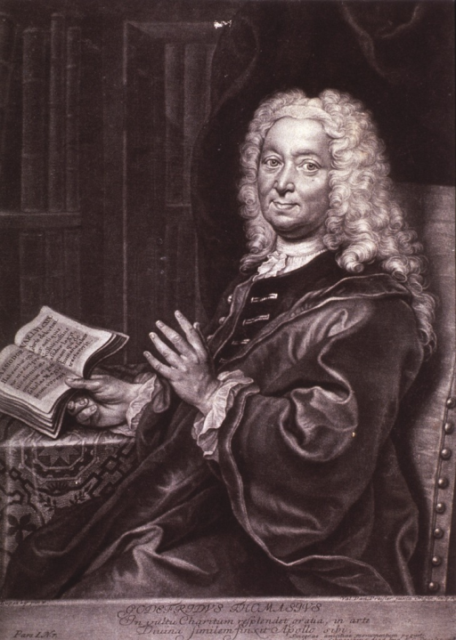 <p>Seated, full face; wig; one hand holding book in Latin; one held up.</p>
