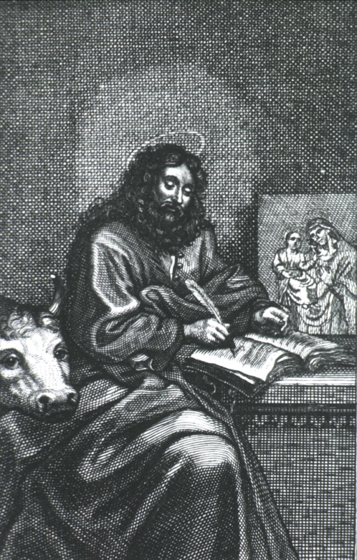 <p>Seated, writing with cow's head in foreground - Madonna portrait in background.</p>