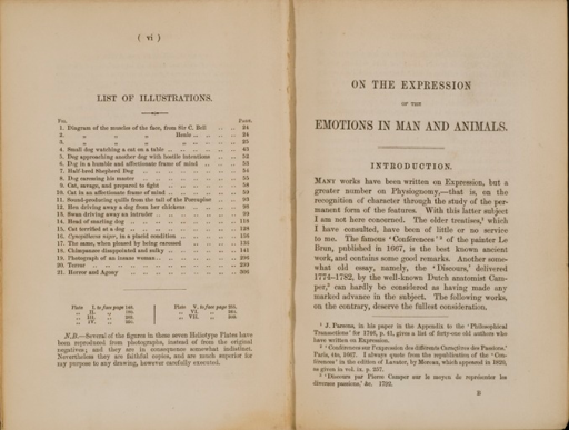 <p>Image of facings pages (vi, 1) from The expression of the emotions in man and animals / by Charles Darwin. London : John Murray, 1872. Page vi has list of illustrations included in the book. Page 1 is the first page of the introduction.</p>