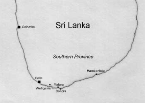 The southern province of Sri Lanka where the Korean disaster medical assistance team served. Six towns were helped; Weligama, Mirissa (between Weligama and Matara), Matara, Thalalla (near Dondra), Hambantota, and Dikwella. The distance from Weligama to Hamabantota is about 100 km.