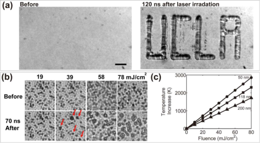 "Image patterned bubble nucleation. (a) Bubble pattern by irradiating a ""UCLA"" light pattern onto the substrate. Laser fluence = 153.5 mJ/cm2. Bar = 50 µm. (b) Bubble nucleation (indicated by red arrows) was observed at laser fluences higher than 39 mJ/cm2. Field of view = 10×10 μm. (c) Calculated temperature increase at the surface of the gold particle (50, 118 and 200 nm in diameter) at the end of the 6 ns laser pulse under various laser fluences."