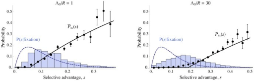 Effect of interference on distribution of successful mutations.Solid curves and points show the probability of fixation of a mutation as a function of its selective coefficient, . Histograms and dashed curves show the distribution of selective coefficients of fixed mutations. The left panel shows results for moderate interference (), while the right panel shows high interference (). Mutations with small effects are strongly affected by interference, while large-effect mutations are nearly unaffected; this biases the distribution of successful mutations towards larger effects. The distribution of mutational effects, , is exponential with mean . Solid curves show the analytical approximation Eq. (12), corrected for the effect of unlinked loci and the saturation of fixation probability as  approaches 1 (see Text S4). Dashed curves show the predicted distribution of selective coefficients of fixed mutations in the absence of interference, , with  set to the width of the histogram bins. Parameters are , , and . Points and histograms are averages over 5000 simulated generations; error bars show the standard error. Only a few mutations in the simulated populations had very high values of , so the estimated probabilities of fixation for these high values are noisy. Note that the horizontal scales of the left and right panels are different.