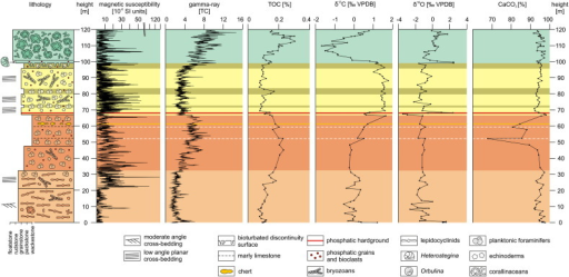 Lithological log and multi-proxy trends. The colours of the depositional units correspond to the informal lithostratigraphic units in Fig. 1.