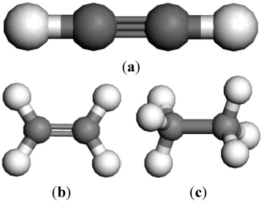 Structural model of oil-dissolved gases. (a) C2H2; (b) C2H4; (c) C2H6.