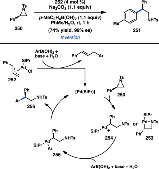Stereospecific cross-coupling of N-tosylaziridines.