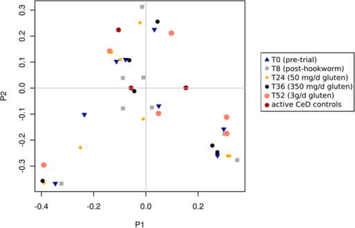 Principal coordinates analysis (PCoA) reveals stable composition of fecal microbial communities over time.The fecal microbiota of Trial subjects prior to and following experimental infection with Necator americanus, and following administration of escalating doses of gluten was assessed by PCoA. The composition of the microbial communities detected in fecal samples from Control subjects with active celiac disease is also shown. Community similarity was calculated using the Jaccard distance measure of the phylotypes.