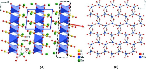 (a) Layered BaMnB2O5 shown by polyhedral and ball-and-stick drawing viewed along the [010] direction. (b) Ball-and-stick drawing of a portion of the manganese oxide network formed by inter­connected Mn2O8 dimers by corner sharing.